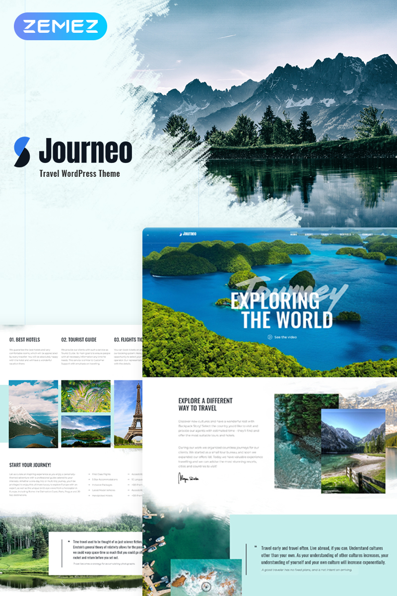 Responsivt Journeo - Travel Agency Elementor WordPress-tema #71866