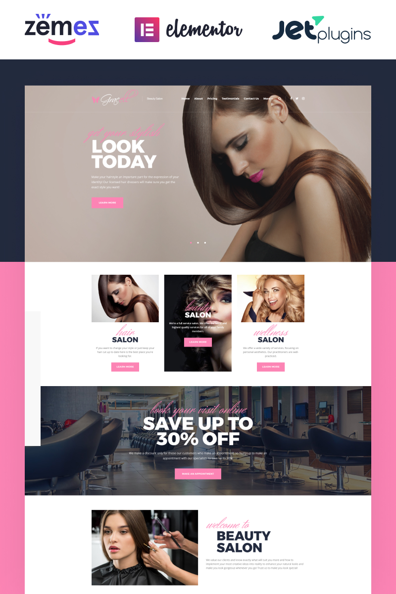 Responsywny motyw WordPress Gracell - Beauty Salon Elementor #71864