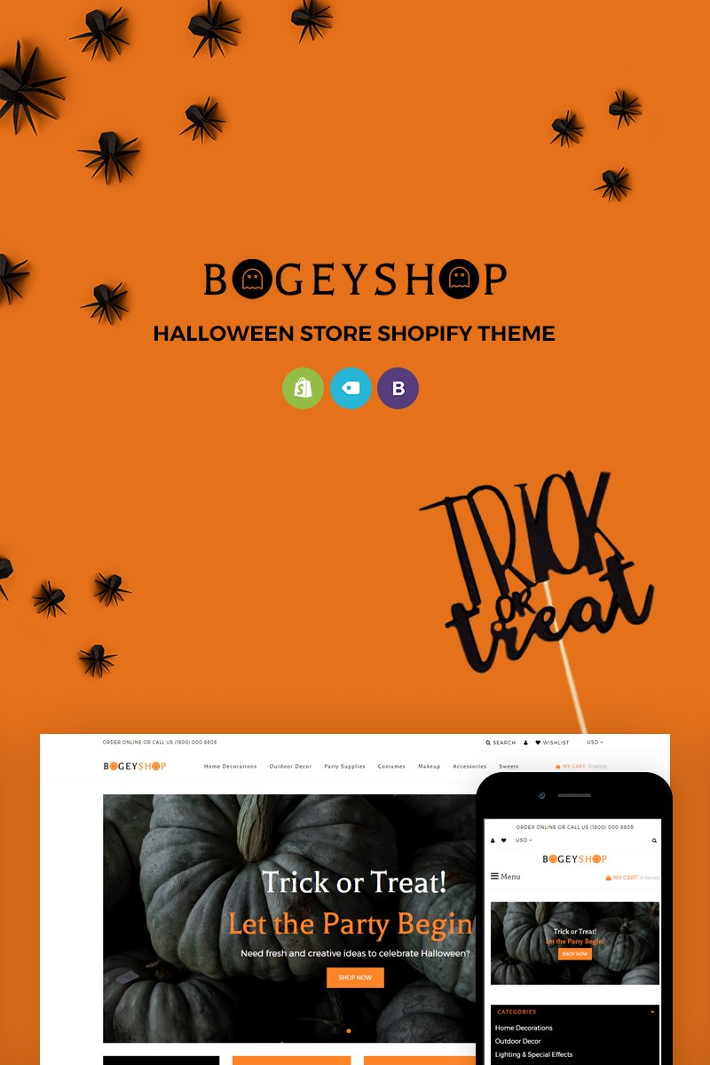 Reszponzív Bogey Shop - Elegant Party Supplies Online Store Shopify sablon 71816 - képernyőkép