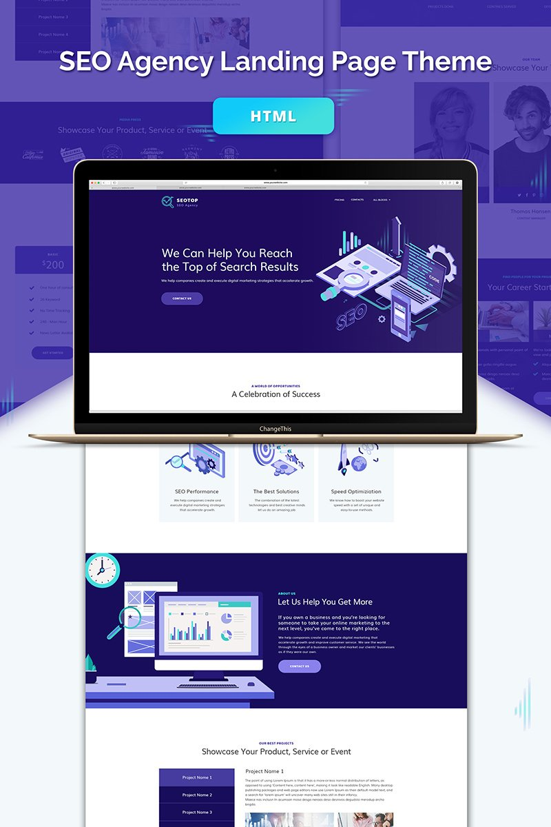 """SEO Agency HTML Landing Page Template"" Landingspagina Template №71869"
