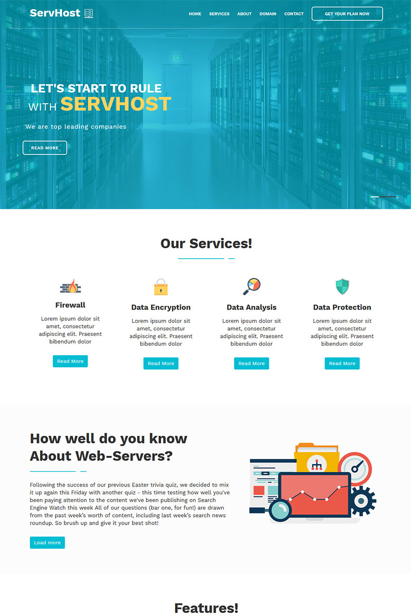 SerHost - Online Hosting HTML5 Template Landing Page Template