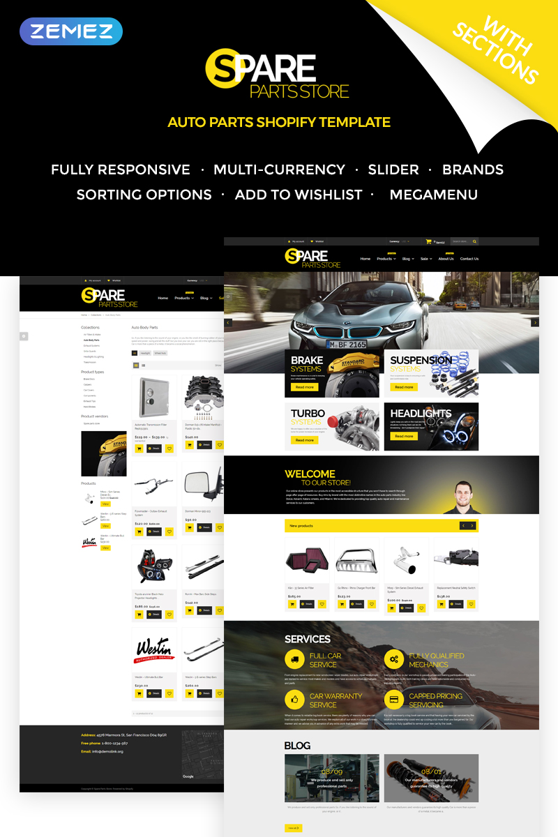 """""""Spare Parts Store"""" Responsive Shopify Thema №71865"""