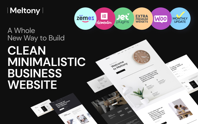 "Template WordPress Responsive #71806 ""Meltony - Minimalist for Any Businesses"""