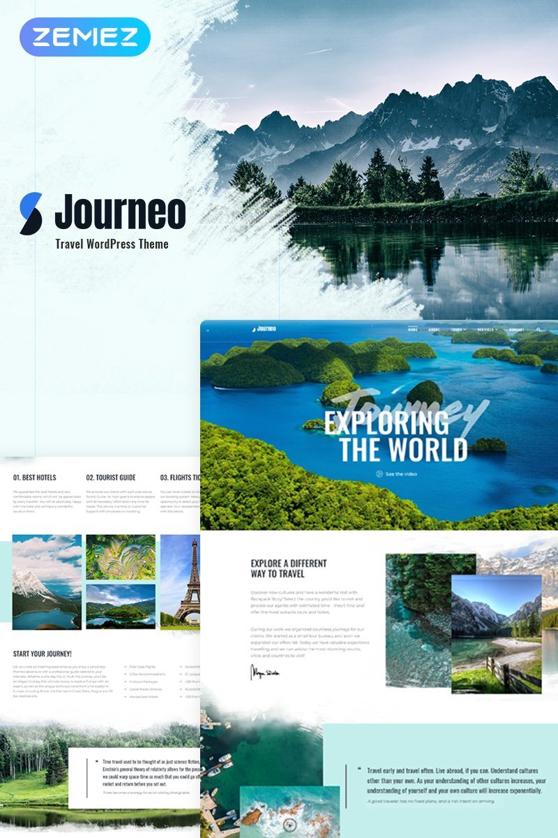 "Template WordPress Responsive #71866 ""Journeo - Travel Agency Elementor"""