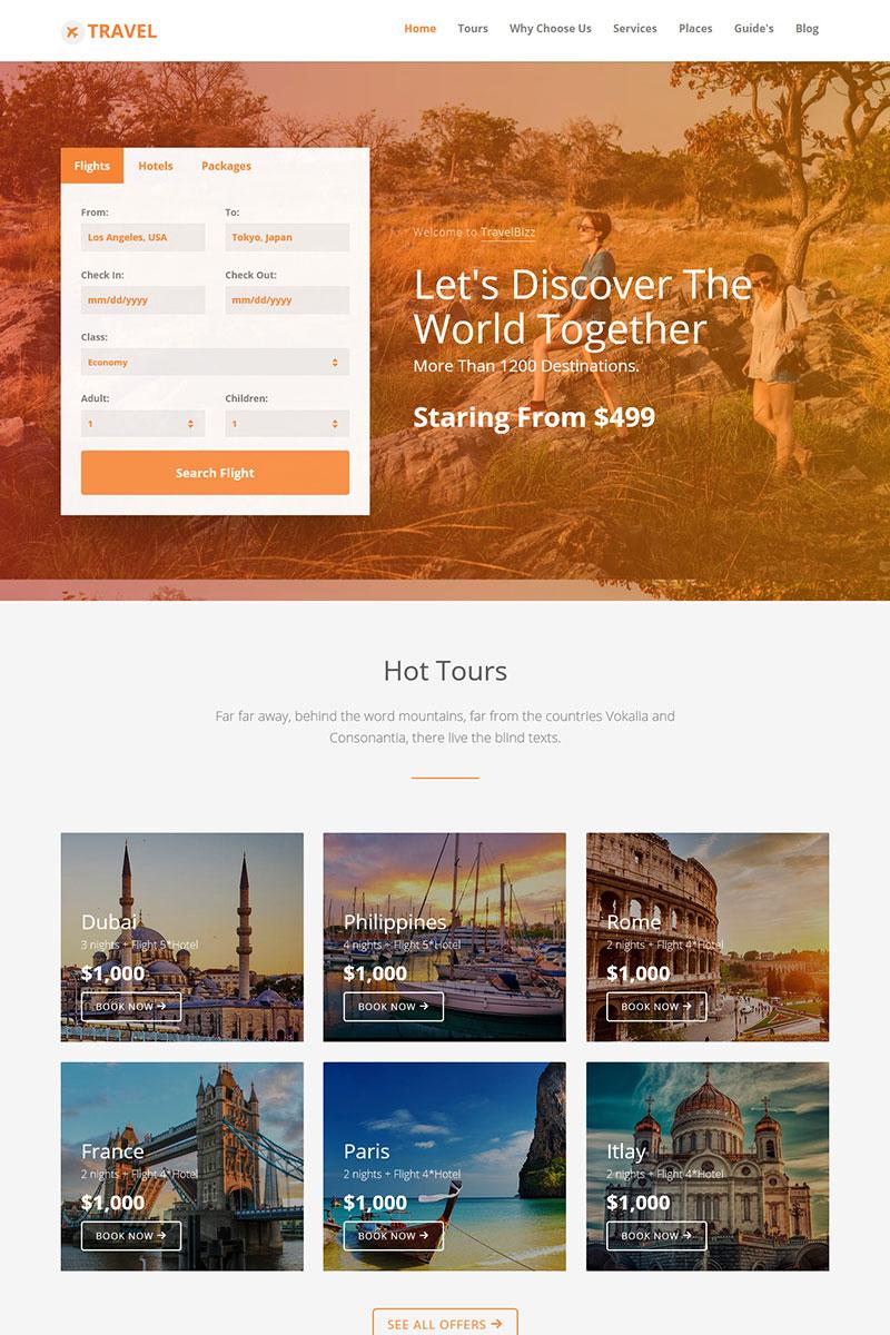 TravelBizz - Travel Agency HTML Tempalte Templates de Landing Page №71829