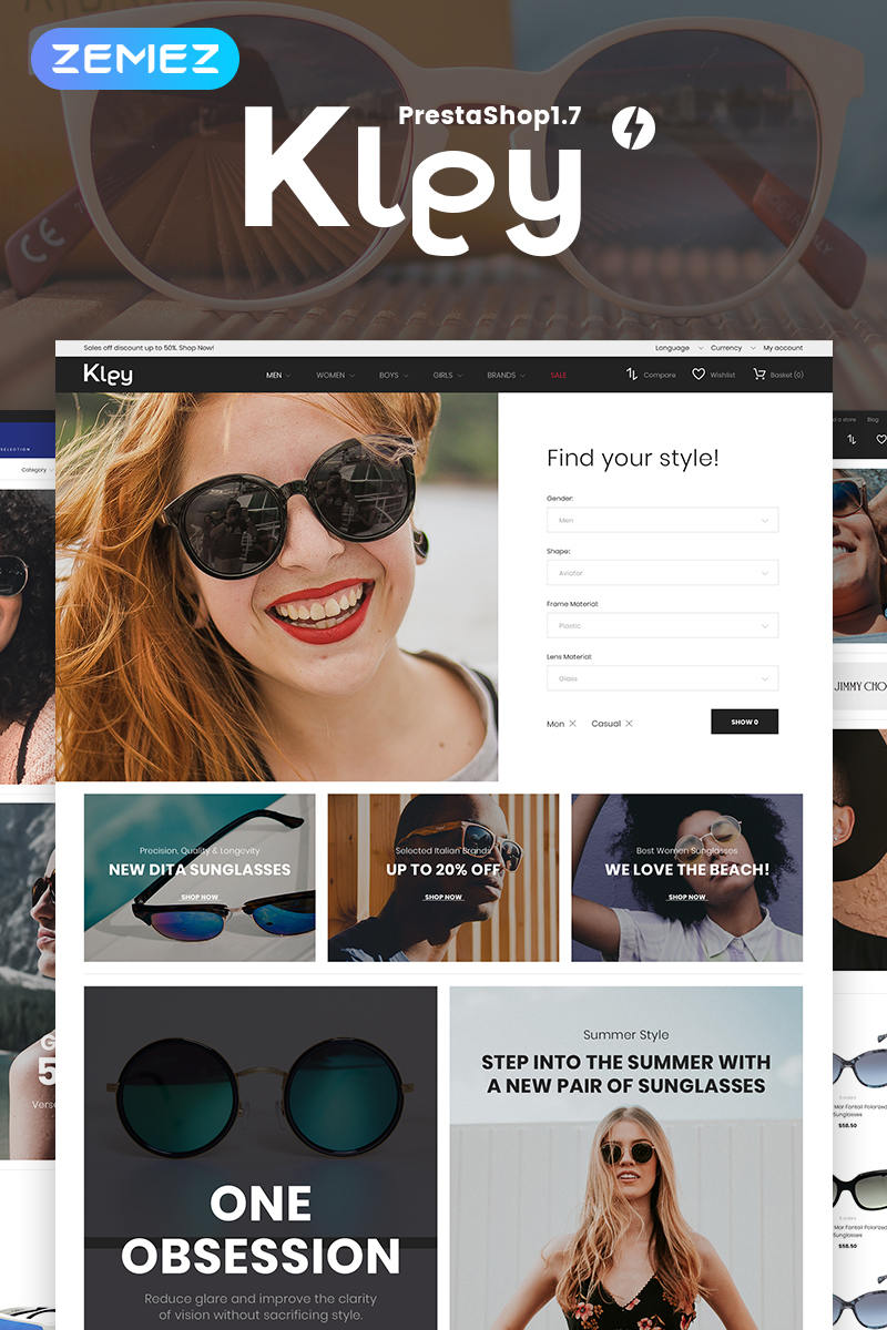 Website Design Template 71949 - sunglasses store prestashop ecommerce accessories eye