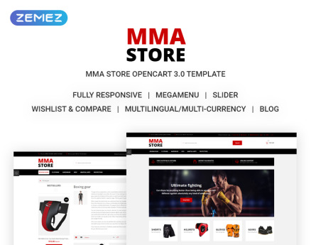 MMA Store - Brutal MMA Sports Gear Online Store OpenCart Template