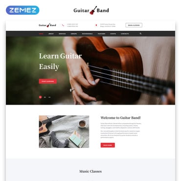 Preview image of Guitar Band - Cool Music School HTML
