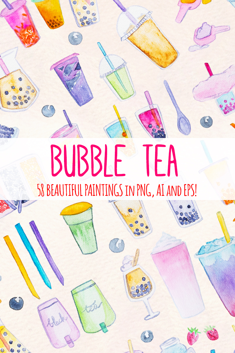 bubble tea watercolor graphics 58 clip art images