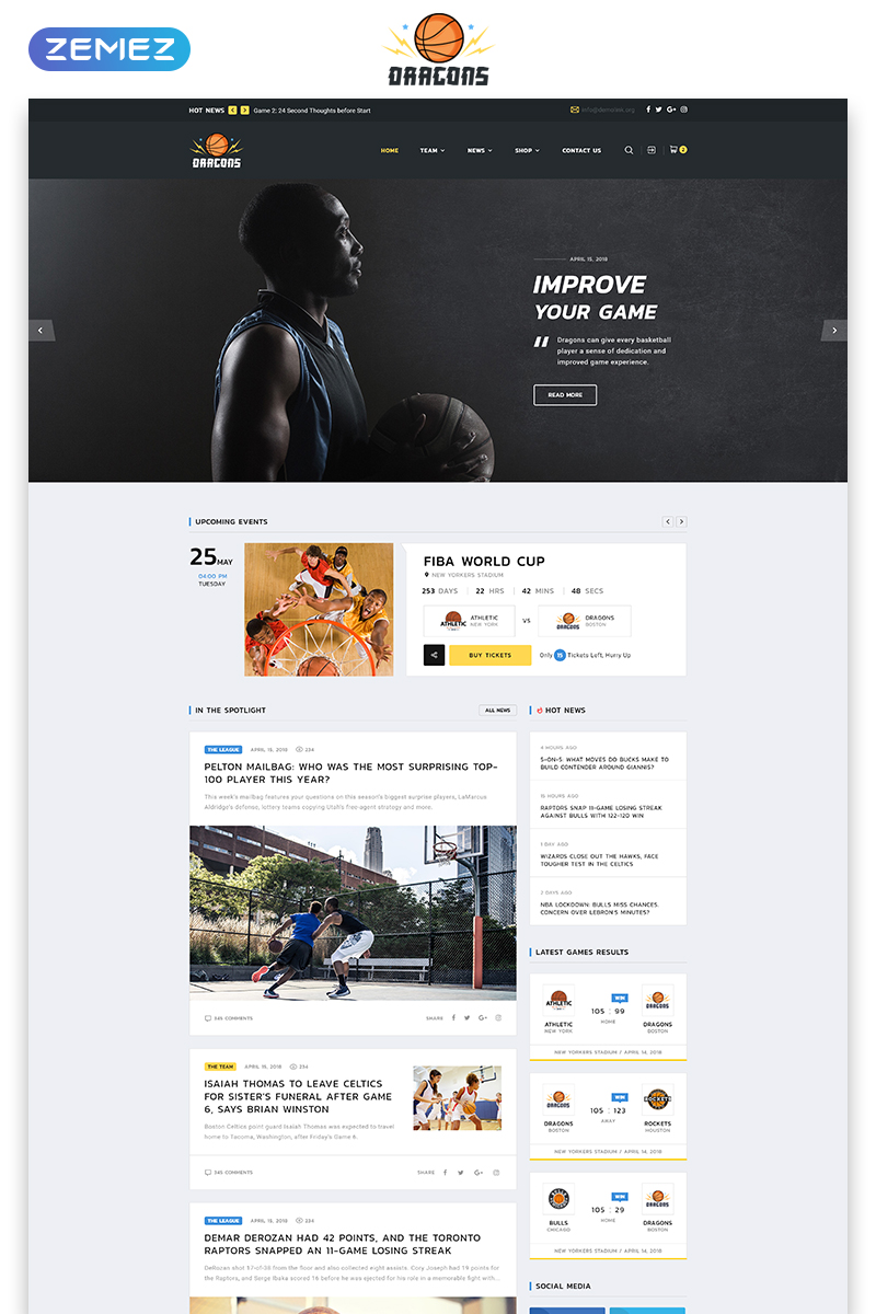 """Dragons - Basketball Team Multipage HTML5"" modèle web adaptatif #71958"