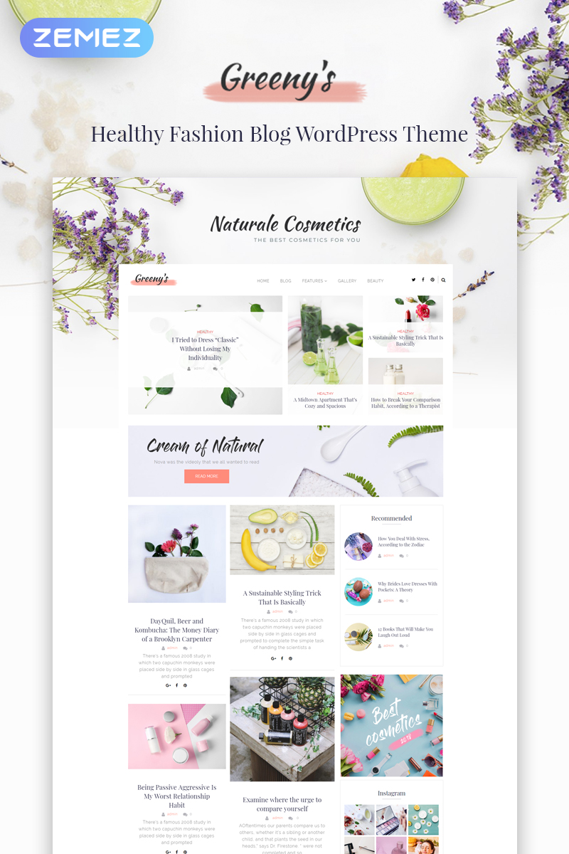 Greeny's - Healthy Fashion Elementor WordPress Theme - screenshot