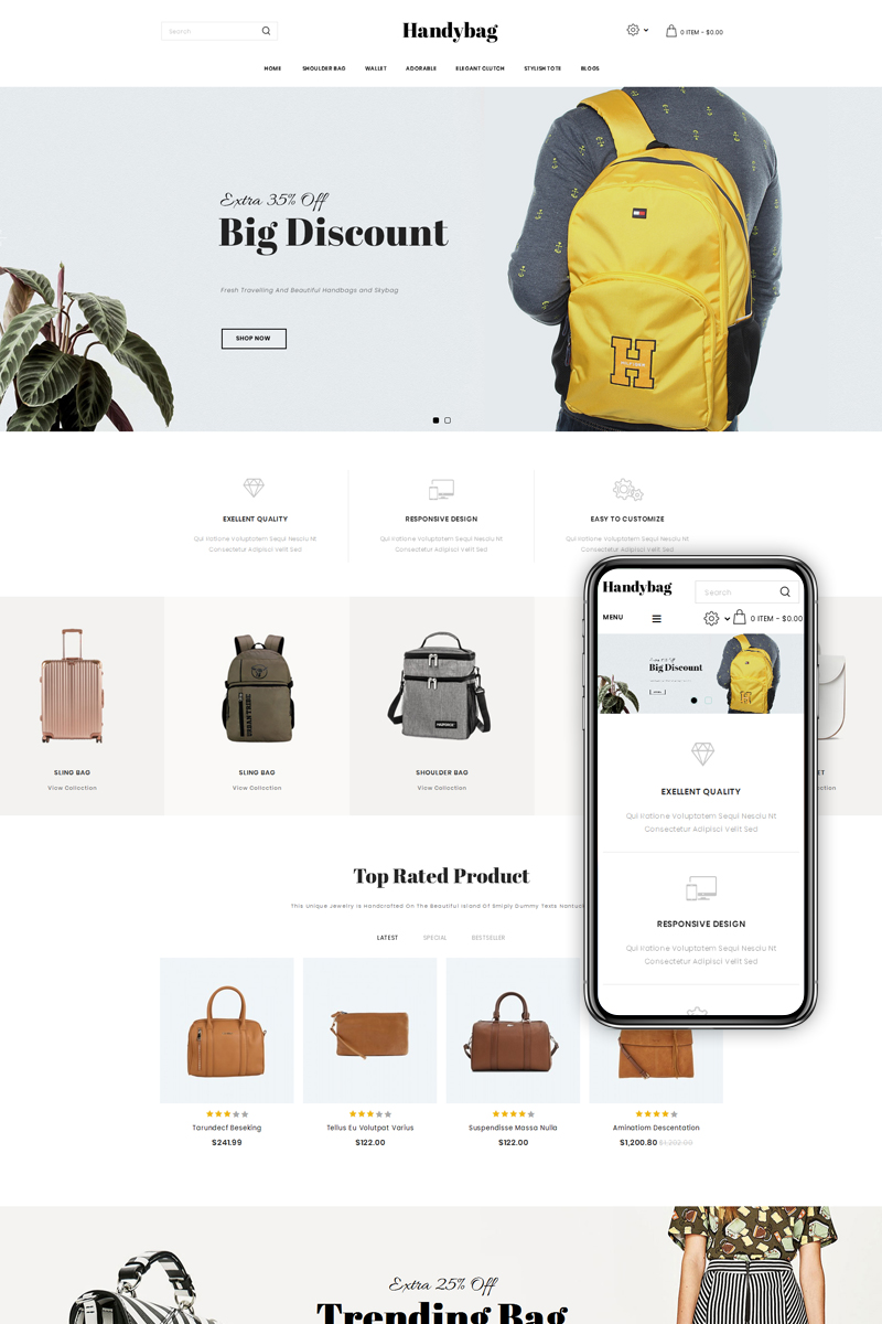 Handybag purse store opencart template 71993 for Opencart bookstore template