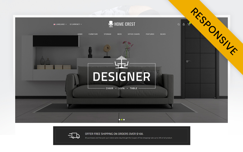 """Home Crest  - Furniture Store"" Responsive OpenCart Template №71978"