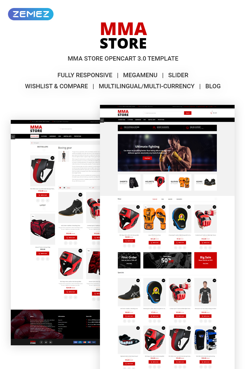 """MMA Store - Brutal MMA Sports Gear Online Store"" Responsive OpenCart Template №71954"