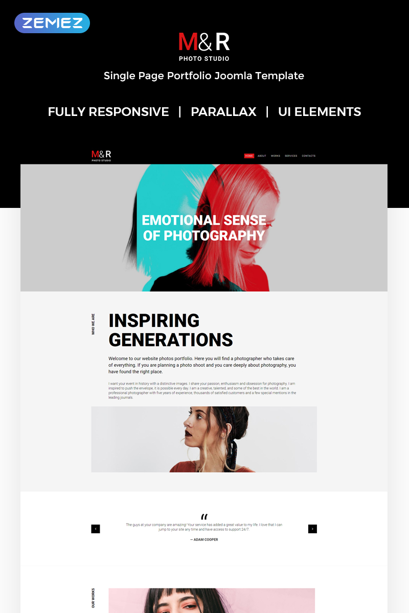"Modello Joomla Responsive #71999 ""M&R - Accurate Personal Photographer Page"""