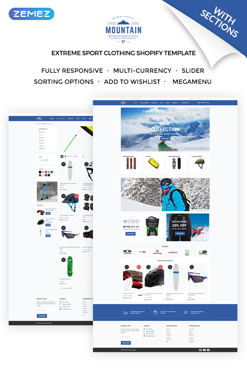 """Mountain - Extreme Sport Clothing Store"" Responsive Shopify Thema №71921"