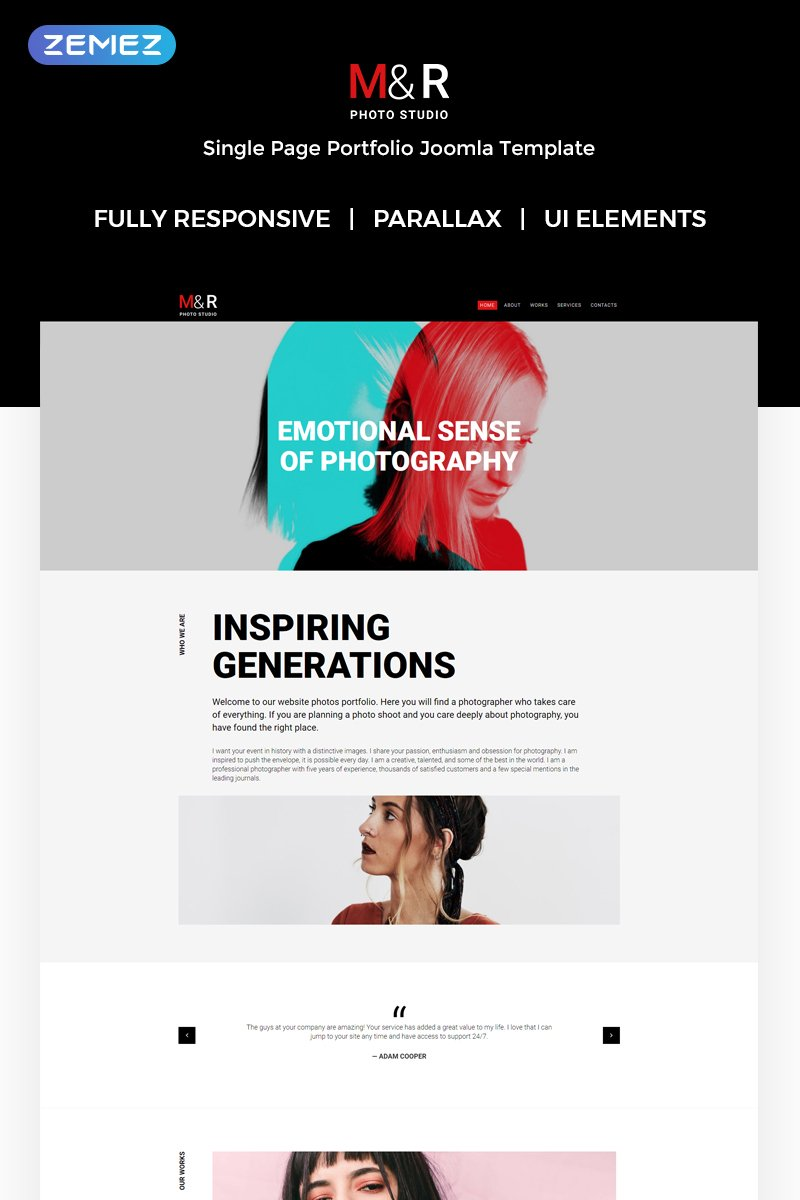 """""""M&R - Accurate Personal Photographer Page"""" Responsive Joomla Template №71999"""