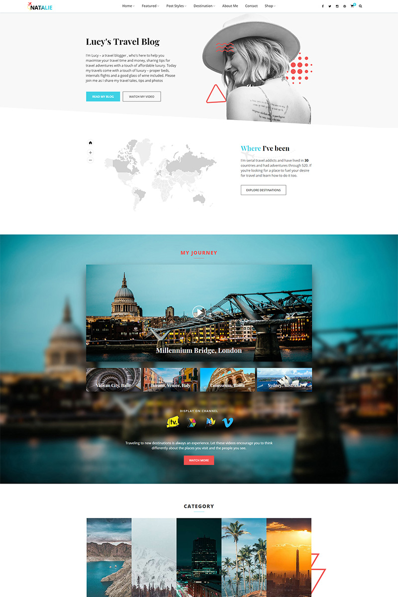 Natalie - Travel Blog WordPress Theme - screenshot