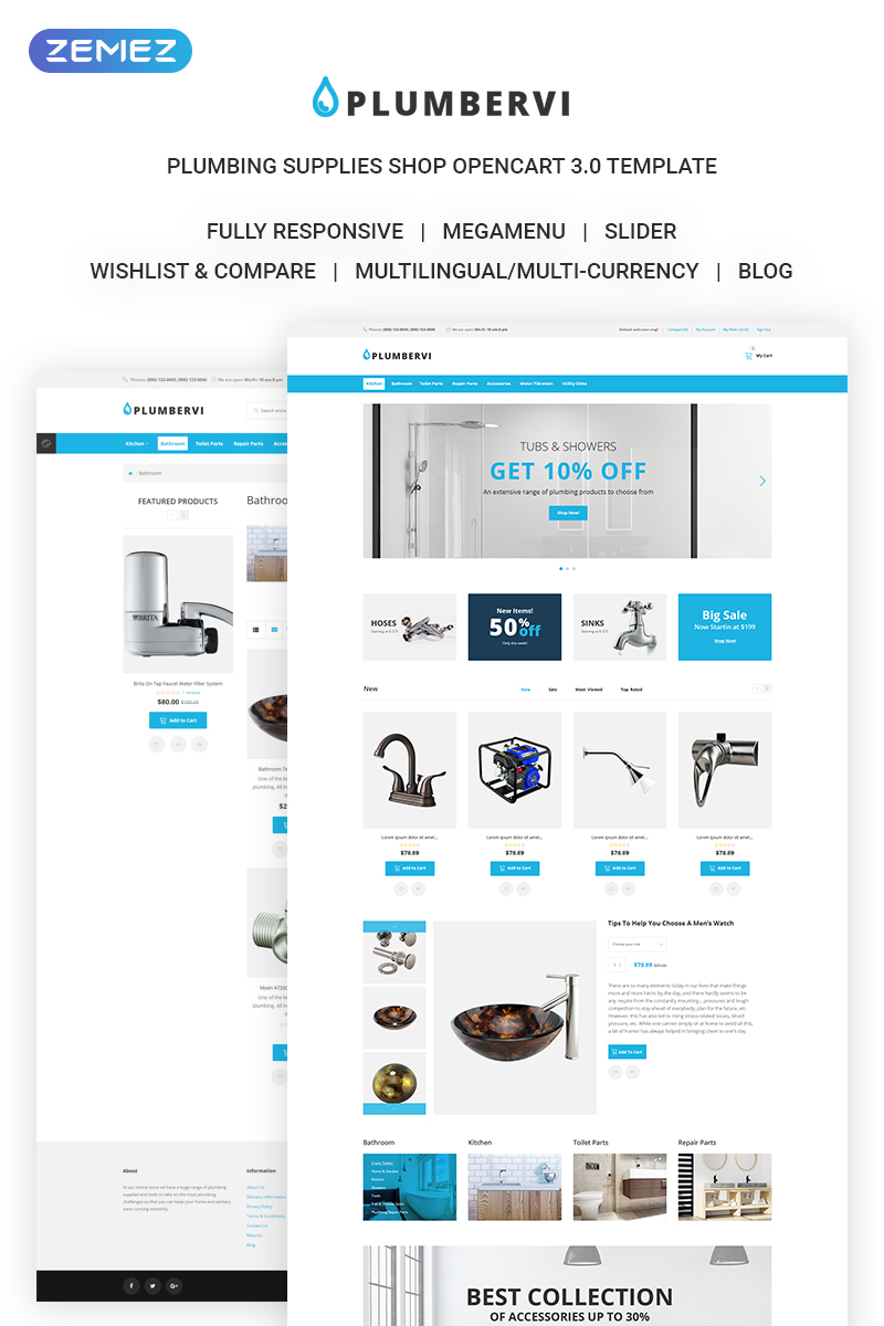 Plumbervi Store - Plumbing Supplies Shop OpenCart Template