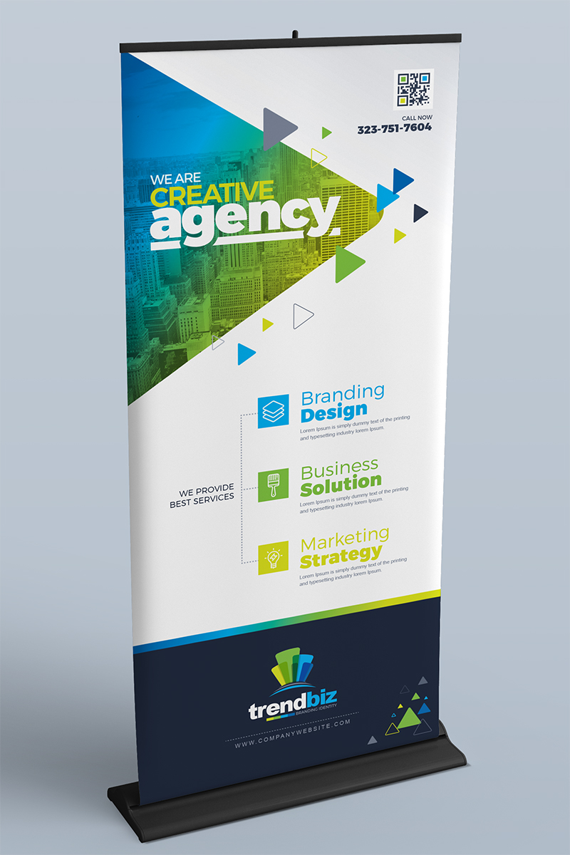 Responsivt Digital Signage : Rollup Indoor Banner, Billboard, Shop Sign, Location Board and Promotional Counter Design Template Bundle #71947