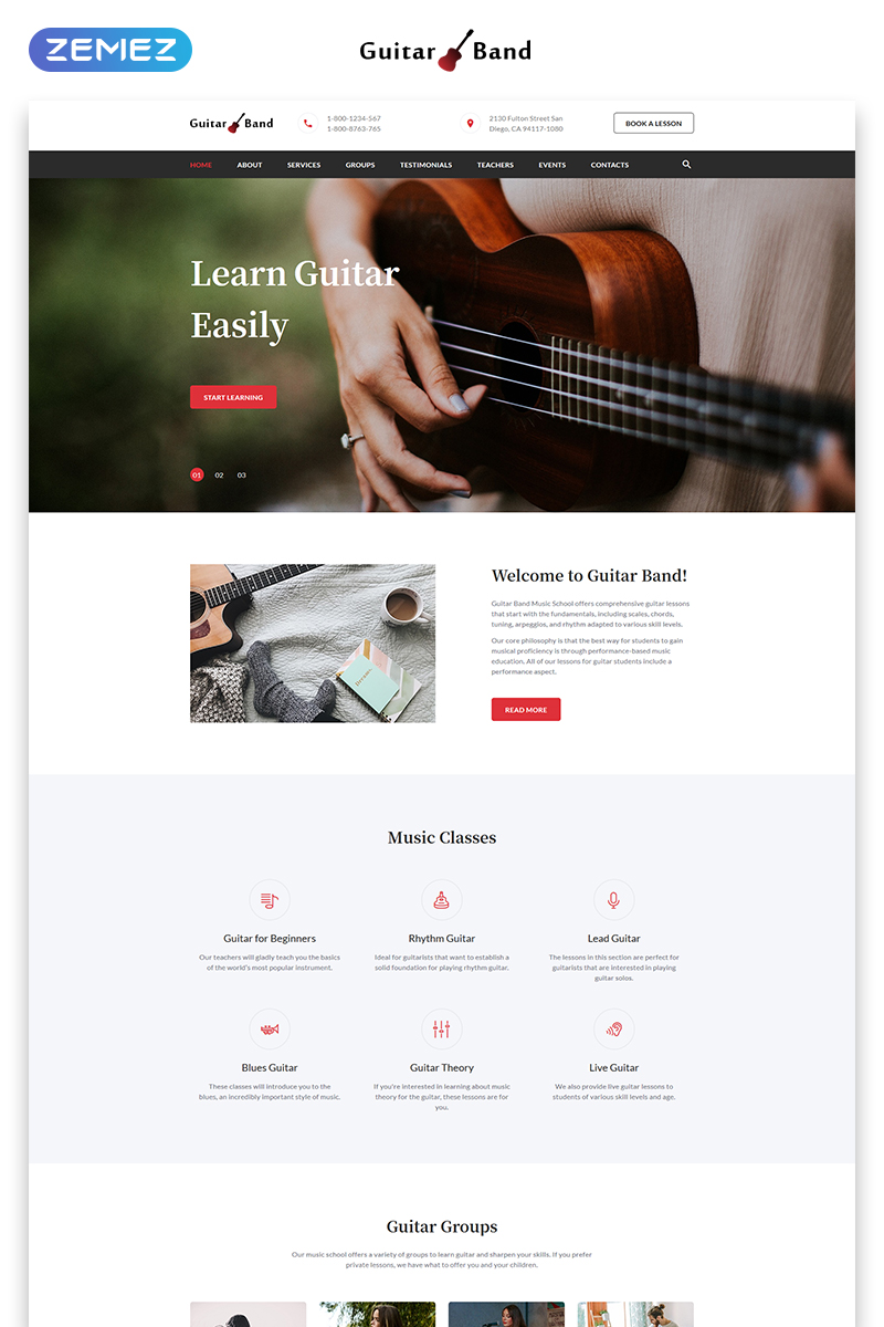 Responsywny szablon Landing Page Guitar Band - Cool Music School HTML #71974