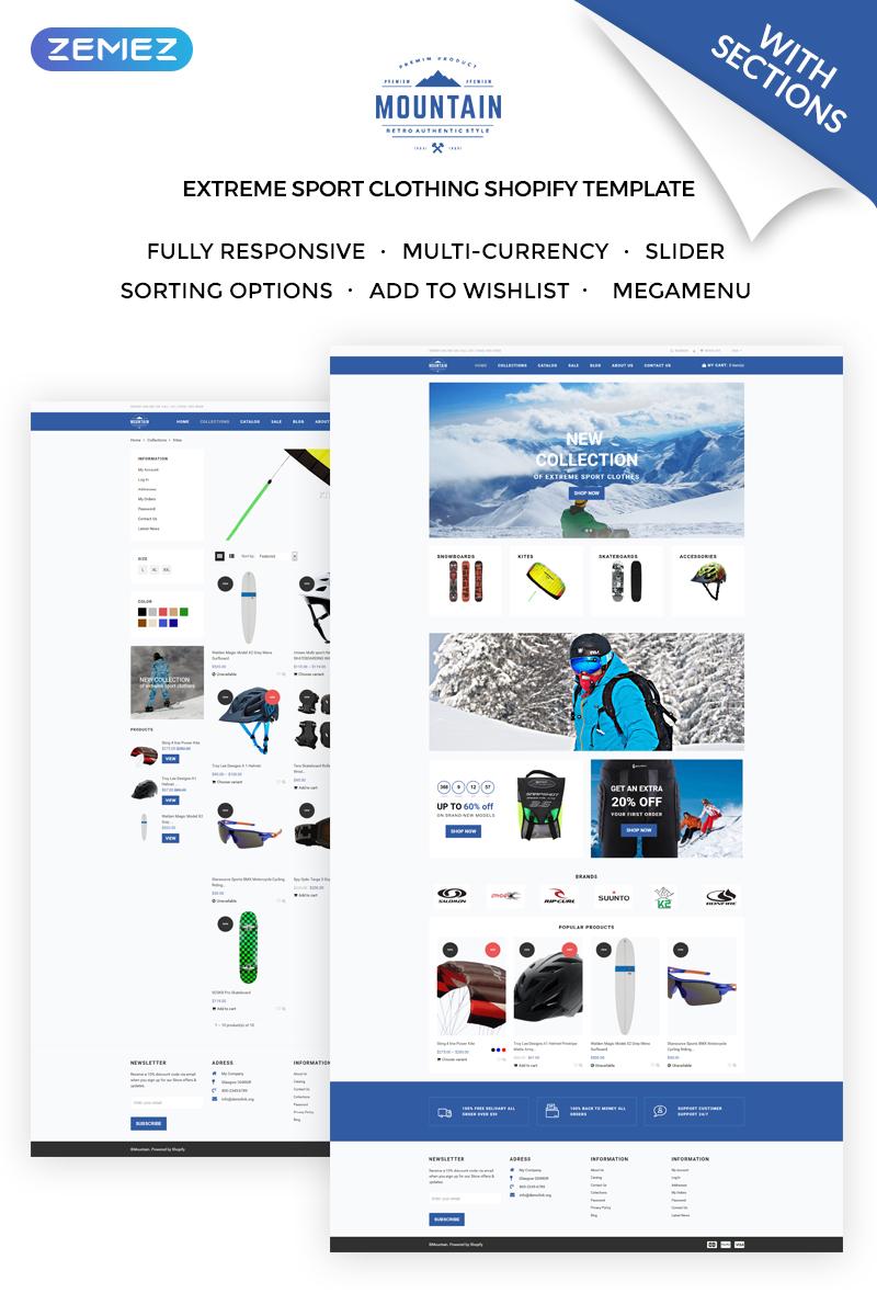 """Responzivní Shopify motiv """"Mountain - Extreme Sport Clothing Store"""" #71921"""