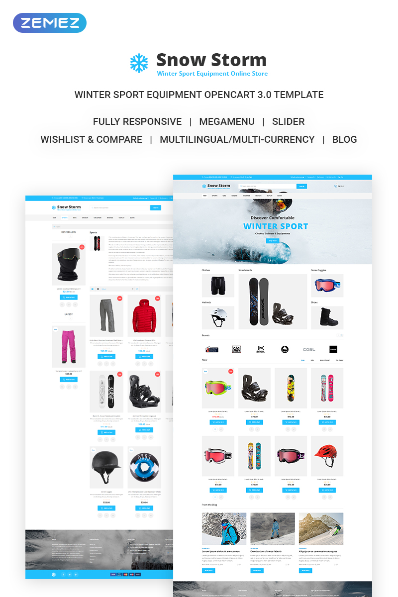 """Snow Storm - Winter Sports Equipment Store"" Responsive OpenCart Template №71924"