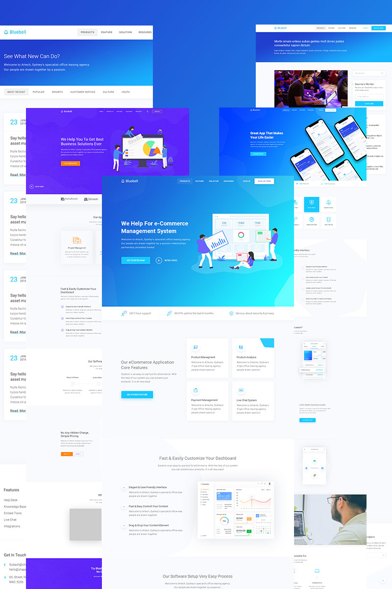 "Tema De WordPress ""Bluebell - Software, Web App And Startup Tech Company WordPress Theme"" #71942 - captura de pantalla"