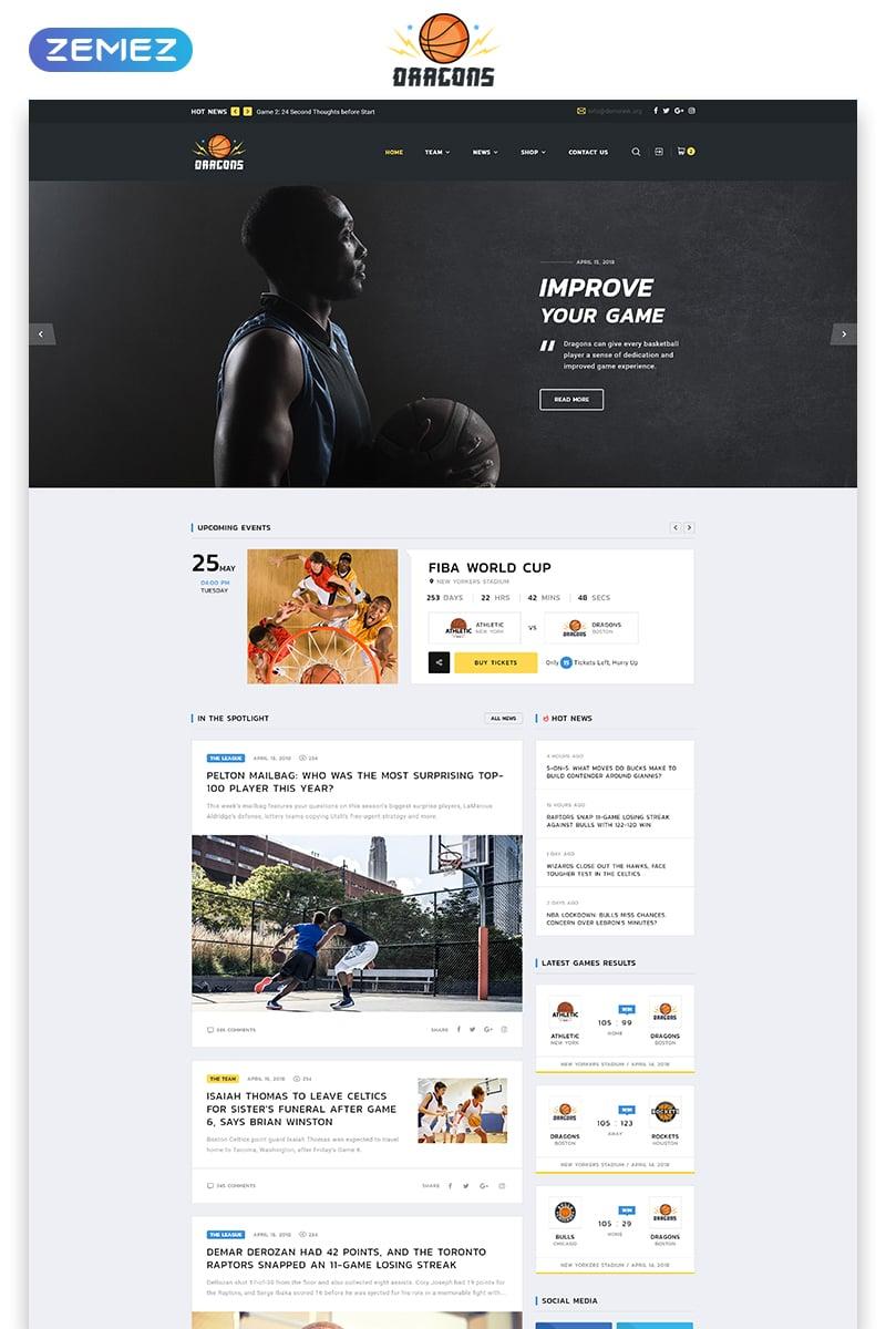 "Tema Siti Web Responsive #71958 ""Dragons - Basketball Team Multipage HTML5"""