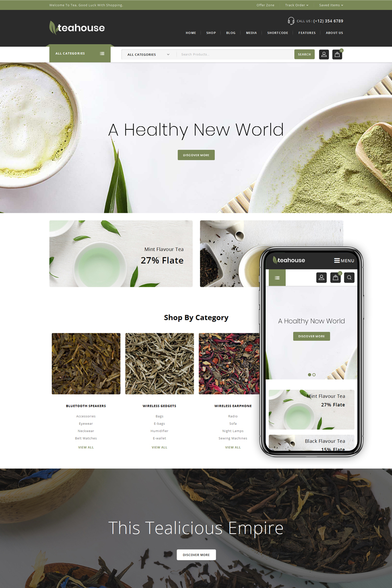 "Tema WooCommerce ""Teahouse - Multi Purpose Store"" #71992"