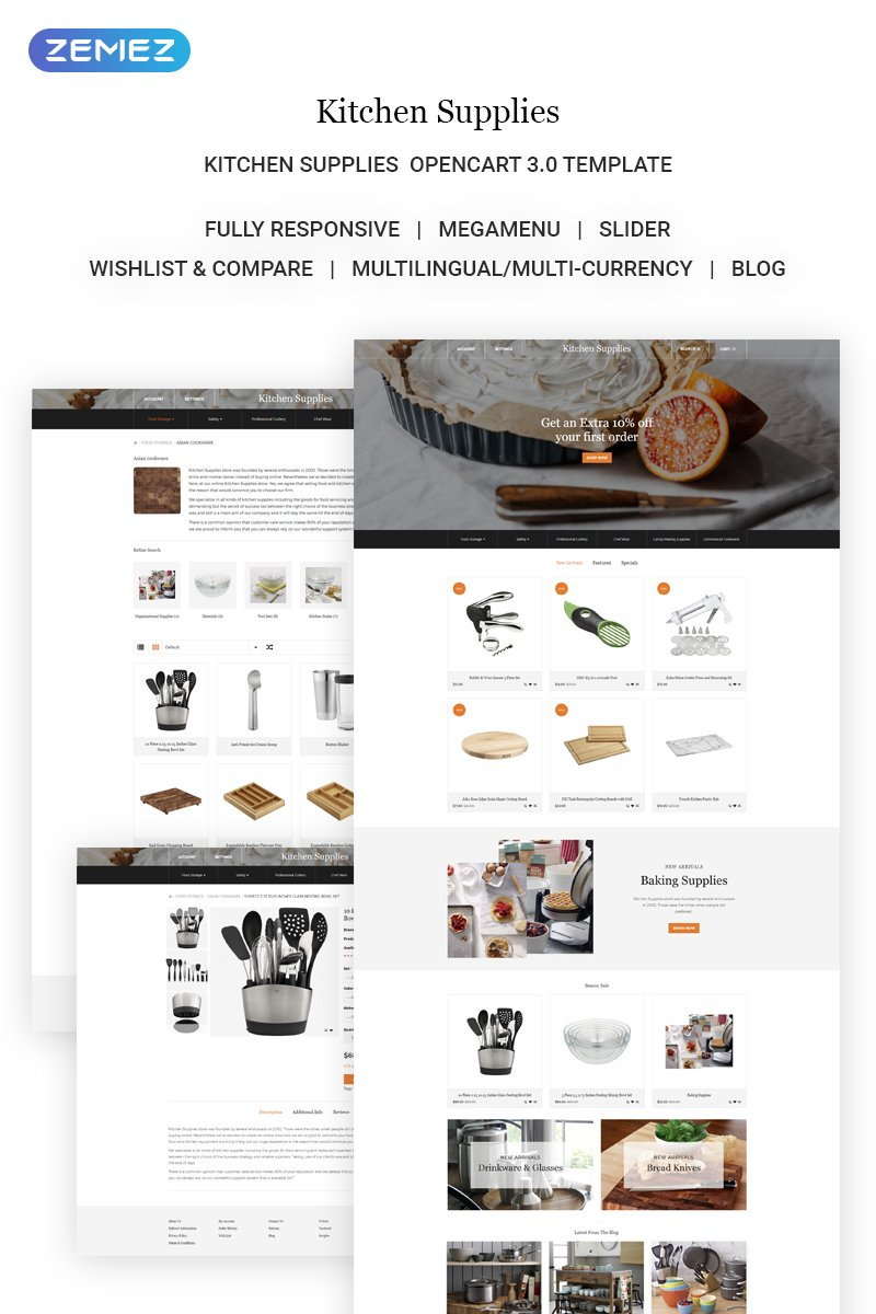 "Template OpenCart Responsive #71968 ""Kitchen Supplies - Elegant Kitchen Accessories Online Store"" - screenshot"