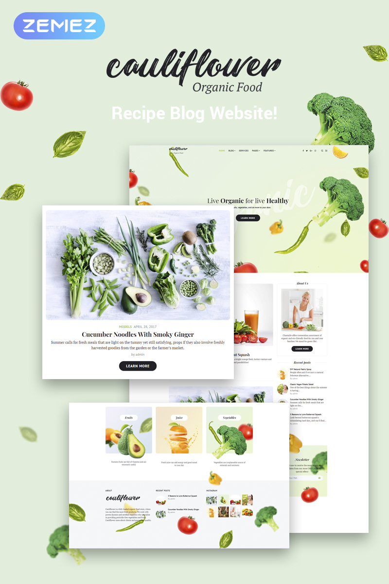 "Template WordPress Responsive #71935 ""Cauliflower - Organic Food Blog Elementor"" - screenshot"