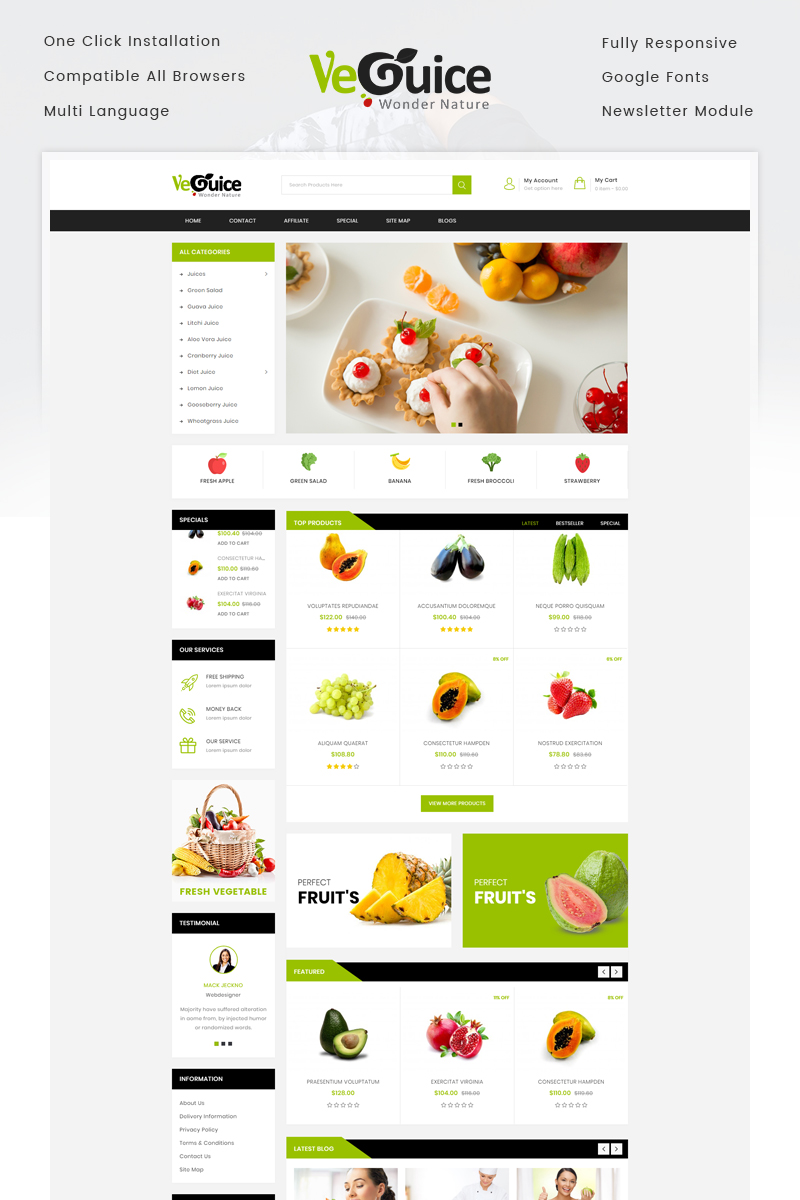 Website Template #72053 Fruits Grocery Food Custom Website