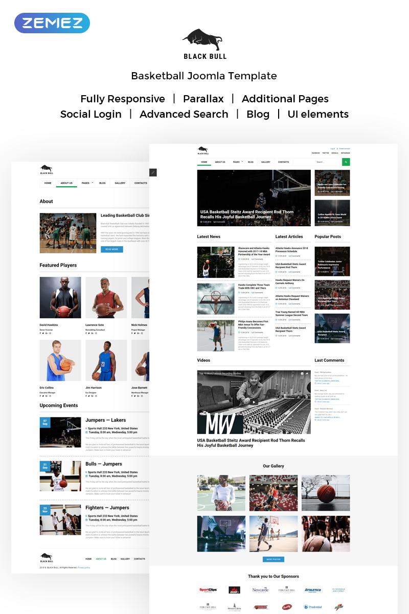 """Black Bull - Laconic Sports News"" thème Joomla adaptatif #72094"