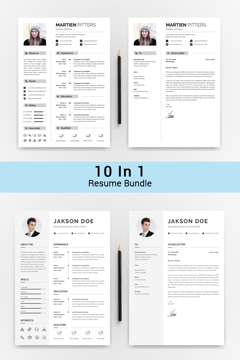 Bundle 10 IN 1 Professinol Creative Resume #72017