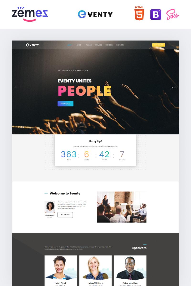 """""""Eventy - Nice Public Event Multipurpose HTML"""" modèle web adaptatif #72010"""