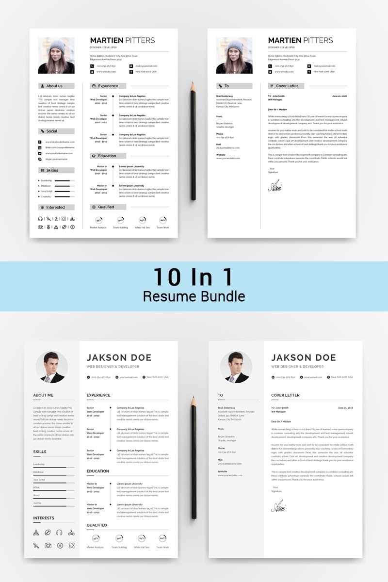 """10 IN 1 Professinol Creative Resume"" Bundle #72017"
