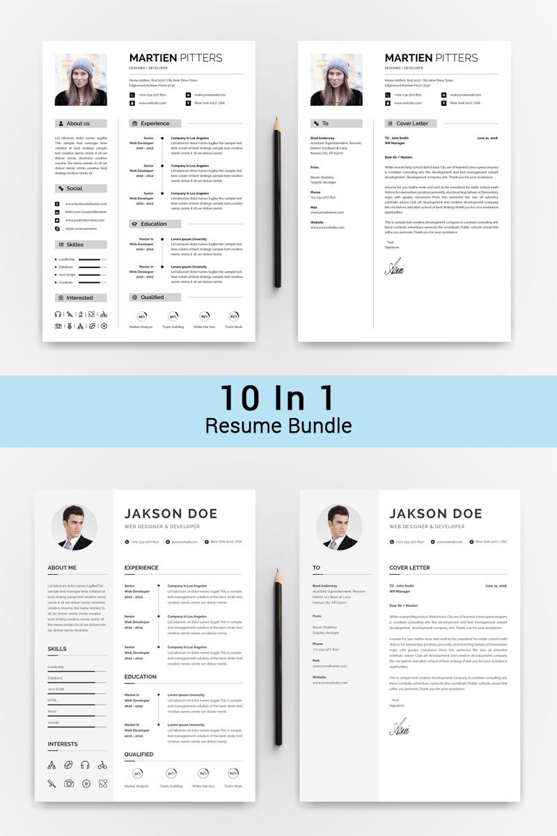 """10 IN 1 Professinol Creative Resume"" - Bundle №72017"