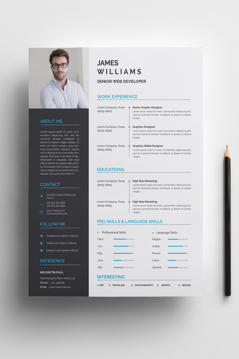 """James Williams -"" CV Template №72045 - screenshot"