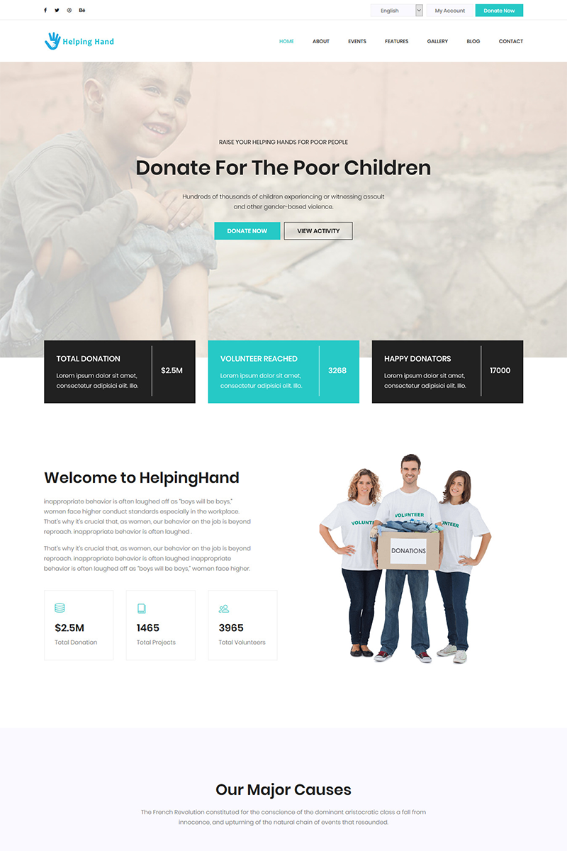 "Landing Page Template namens ""HelpingHand - Charity & Donation HTML5 Template"" #72051"