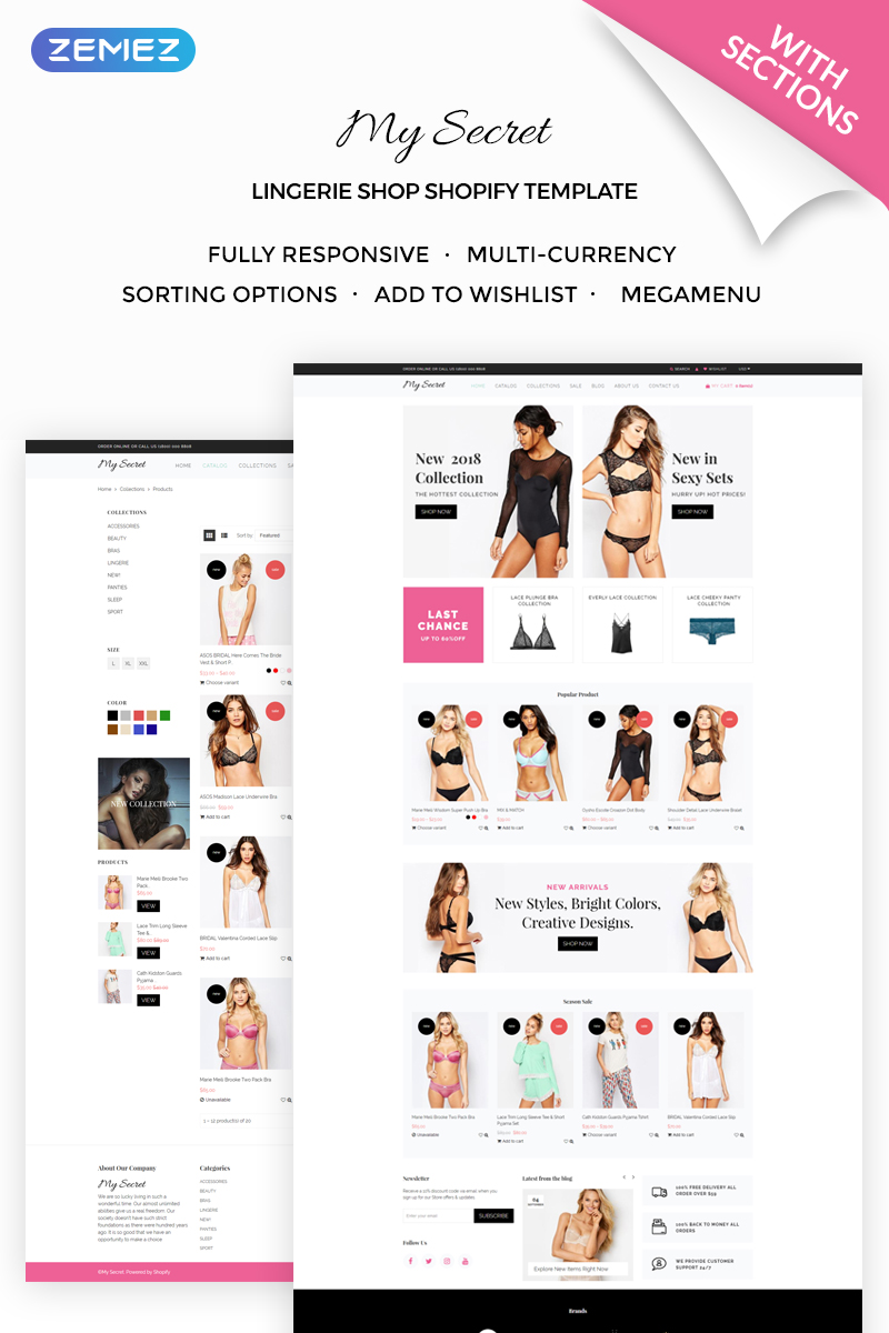My Secret - Lingerie Shop Shopify Theme