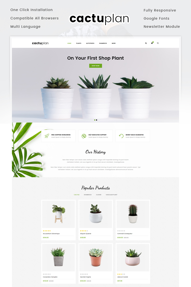 "OpenCart Vorlage namens ""Cactuplan Plant Store"" #72055"
