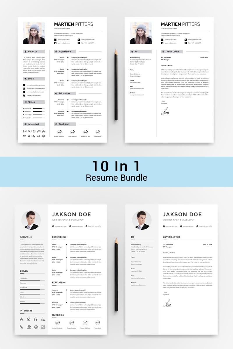 """Paquete """"10 IN 1 Professinol Creative Resume"""" #72017"""