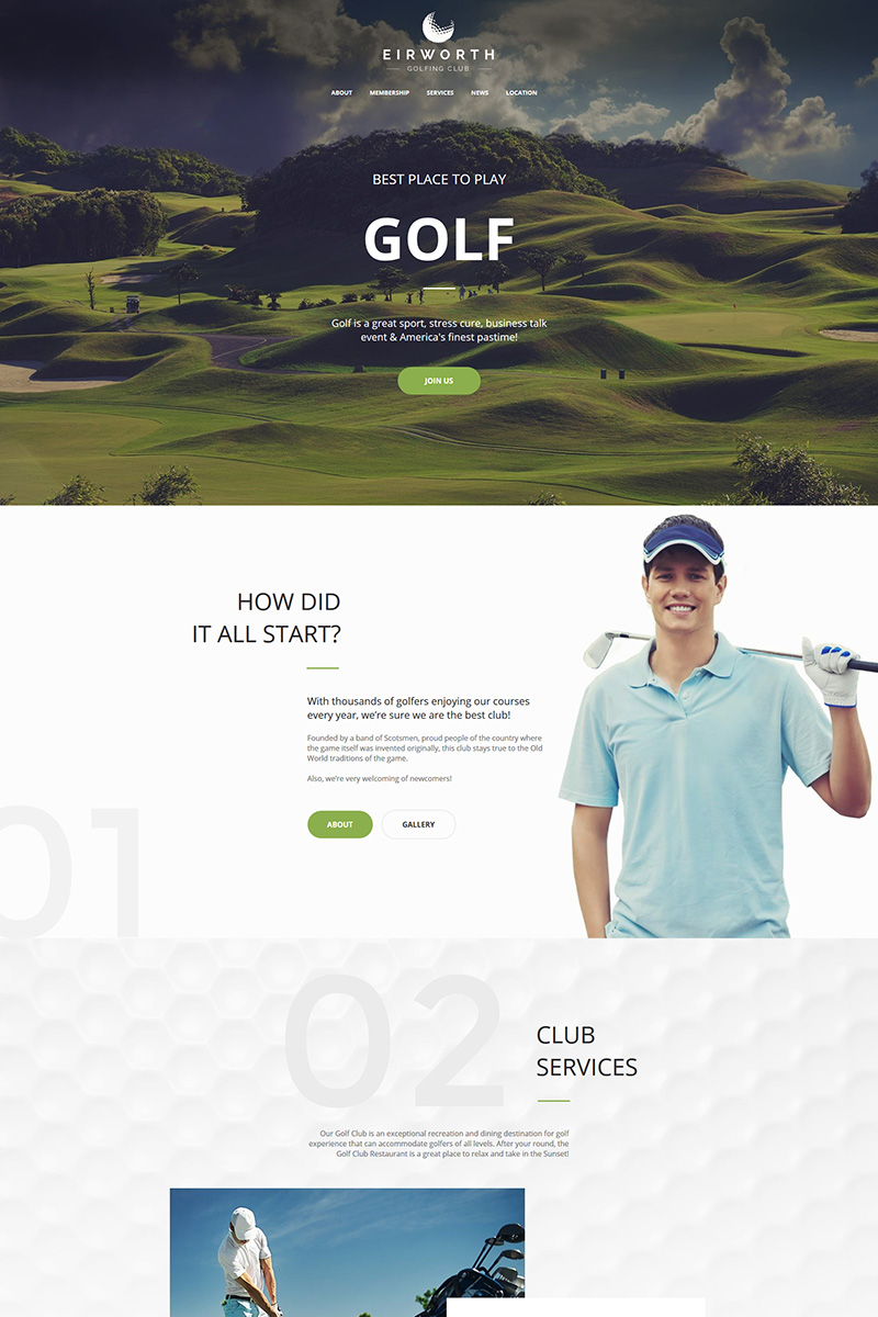"""Plantilla Moto CMS HTML """"Eirworth - Golfing Club"""" #72057"""