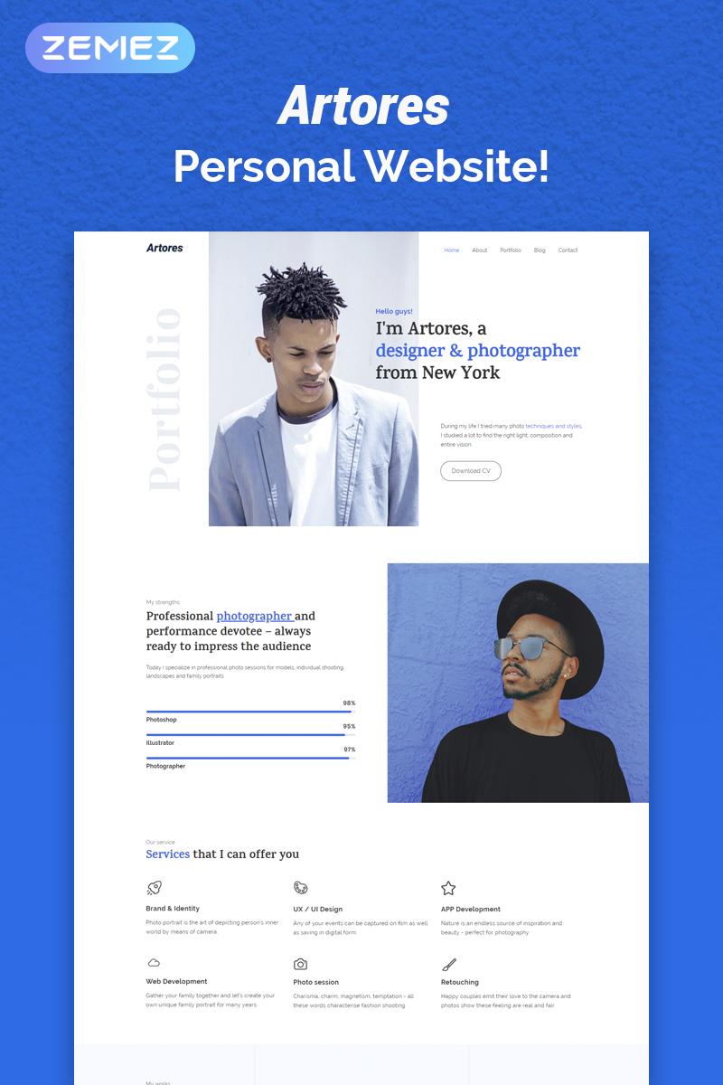 Responsivt Artores - Personal Elementor WordPress-tema #72031