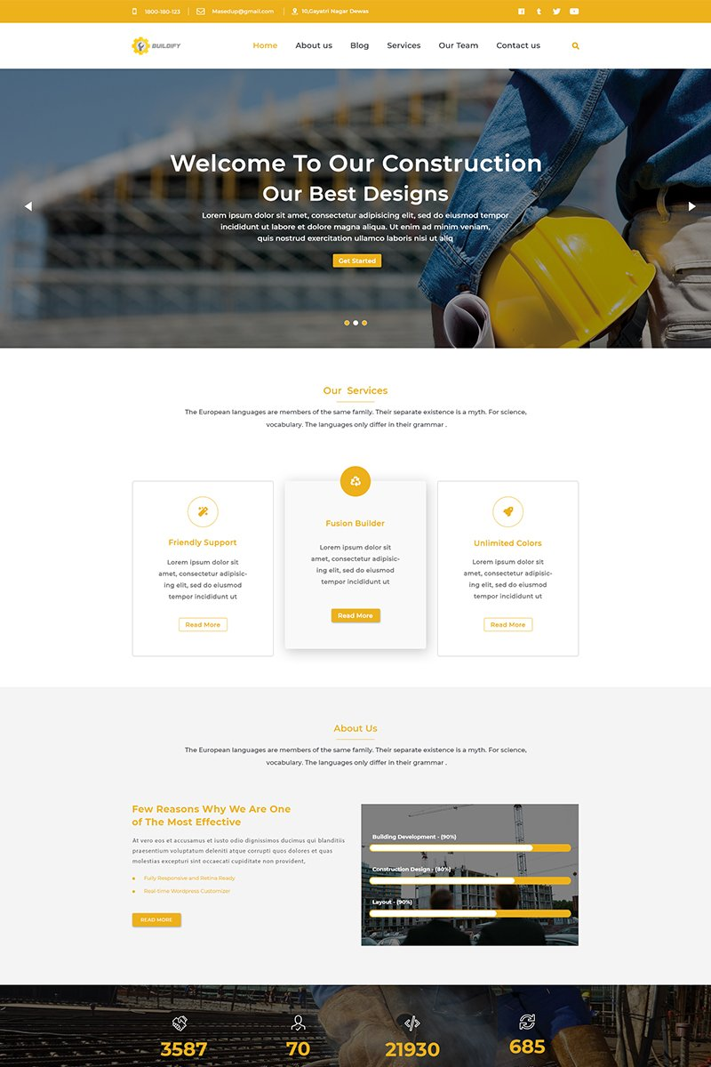 Responsivt Buildify One Page PSD-mall #72052