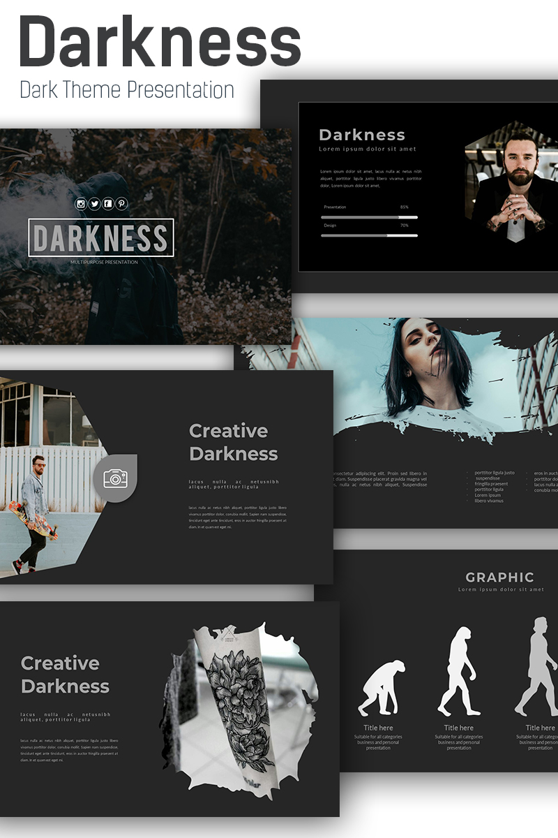 Responsivt Darkness Presentation PowerPointmall #72089