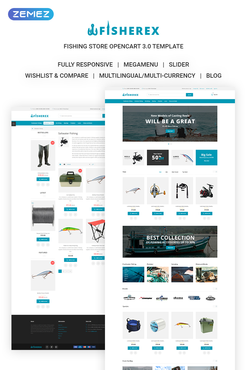 "Responzivní OpenCart šablona ""Fisherex - Fishing Store"" #72059"