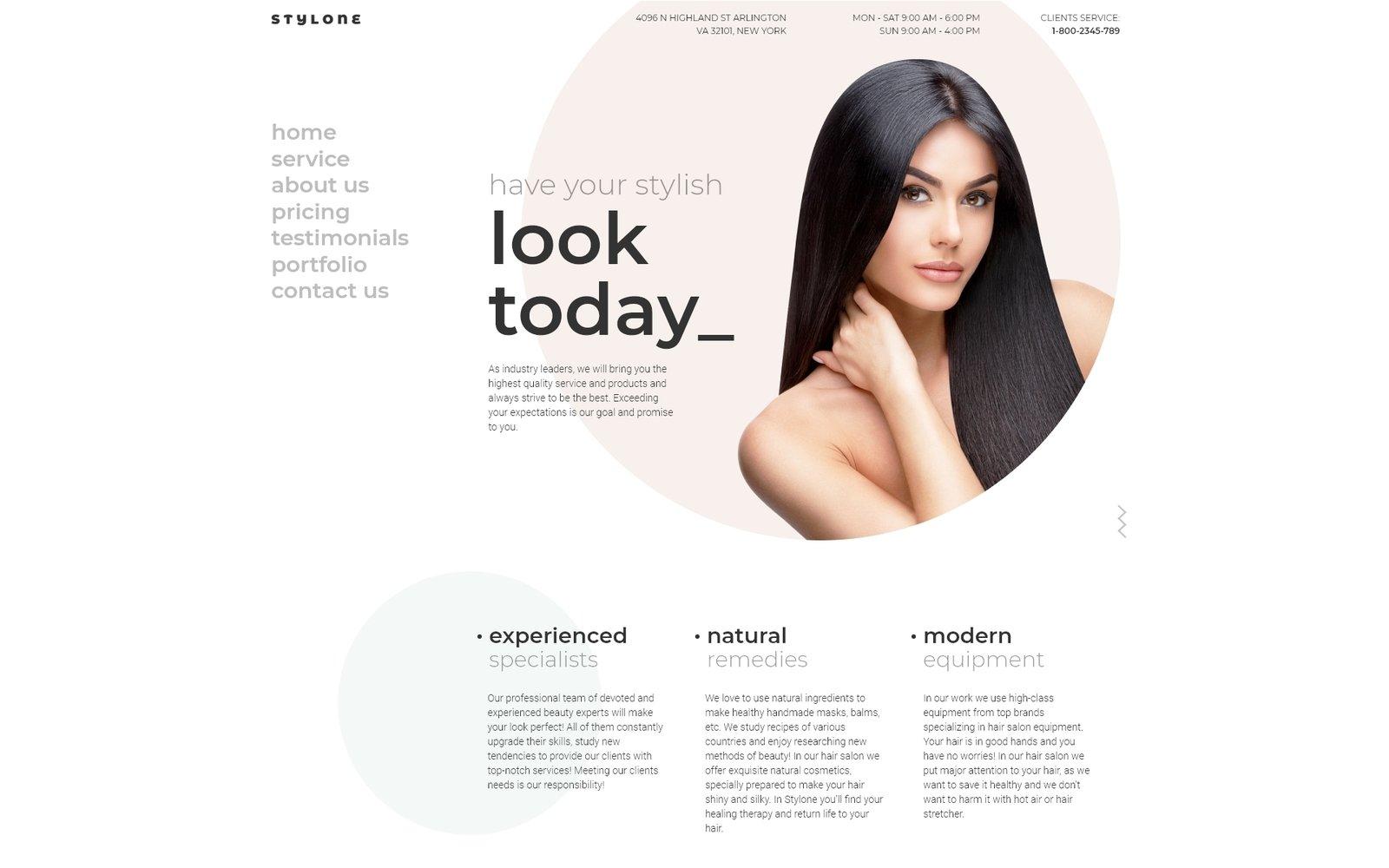 """Stylone - Beauty Hair Salon Elementor"" Responsive WordPress thema №72037"