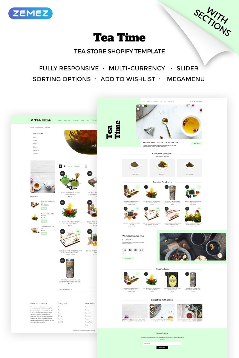 Tea Time - Sophisticated Online Tea Store Shopify Theme